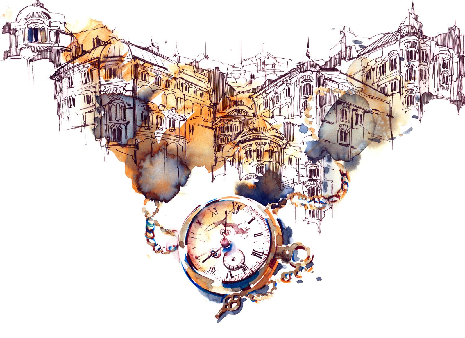 街並みと懐中時計